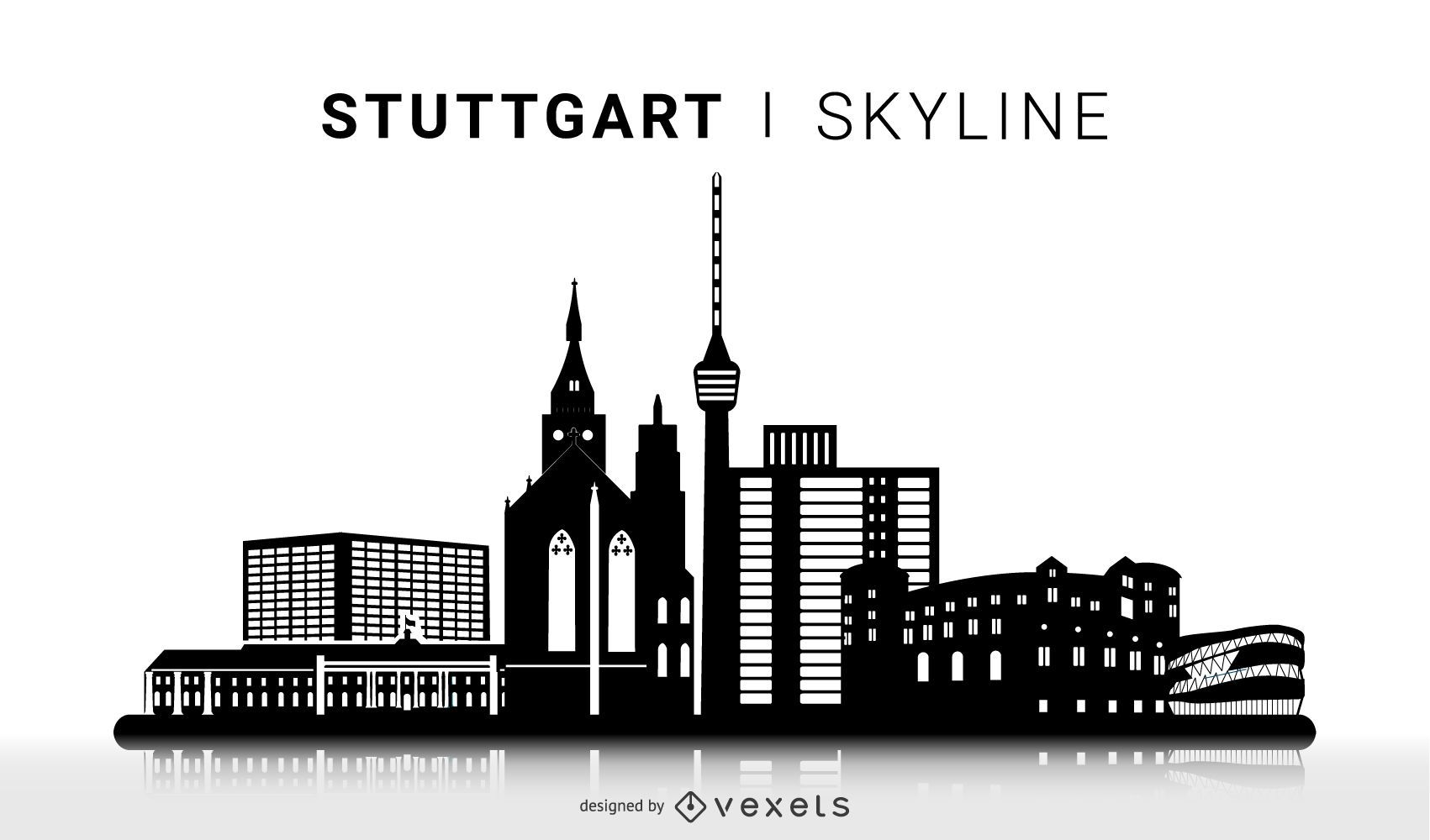 Stuttgart Silhouette Skyline Design - Vector download
