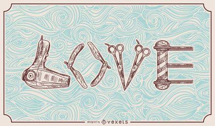 Barbeiro Hairstylist Love Ilustração