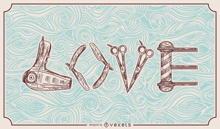 Peluquero estilista amor ilustración