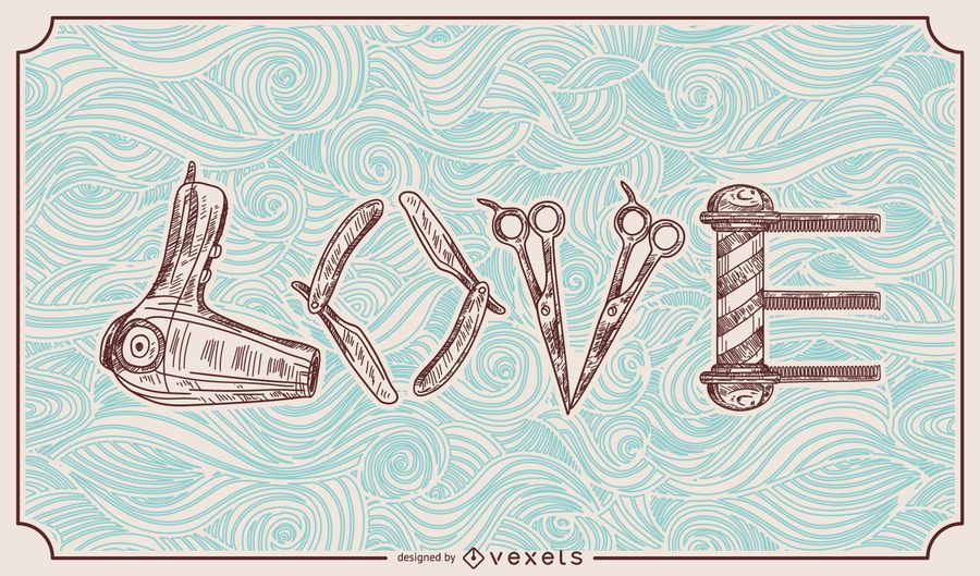 Barber Hairstylist Love Illustration
