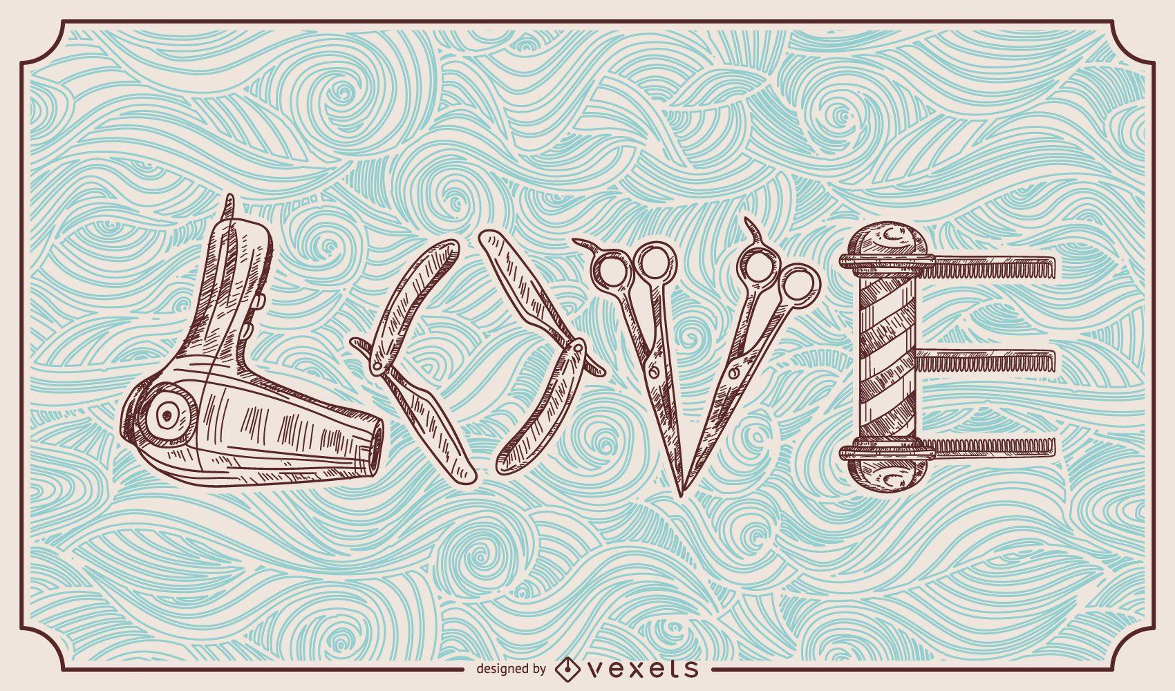 Barber Hairstylist Love Illustration