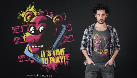 Hora de jogar o design do t-shirt do urso