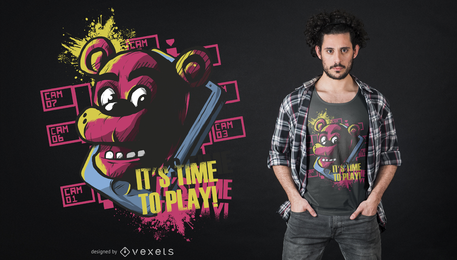 Tiempo de jugar diseño de camiseta oso
