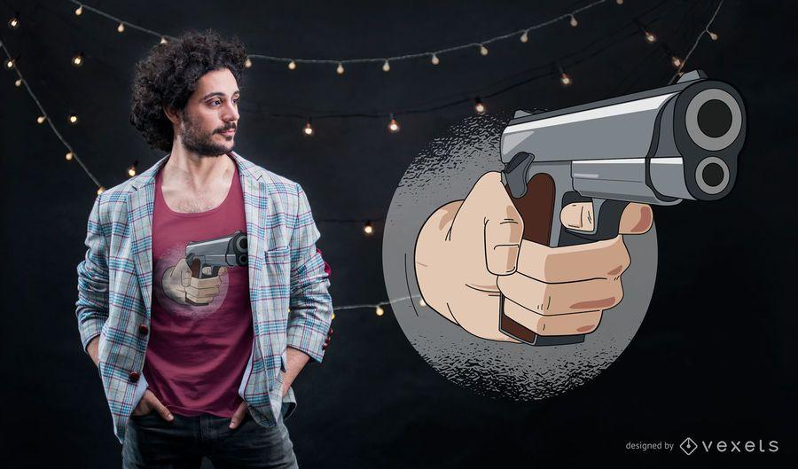 Diseño de camiseta de pistola de mano