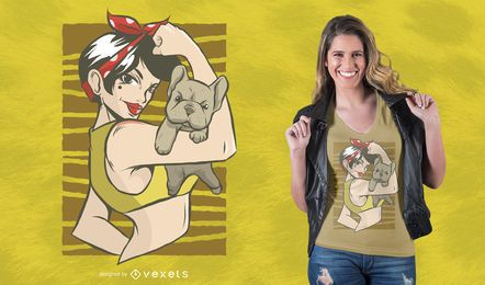 Projeto do t-shirt do buldogue do Pinup