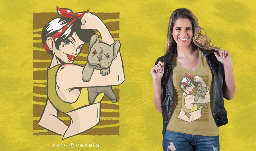 Pinup Bulldog camiseta de diseño