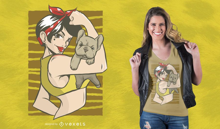 Pinup Bulldog T-Shirt Design