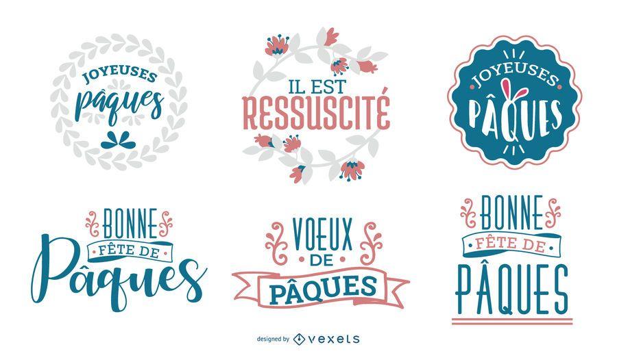 Design de saudação de feliz Páscoa francesa