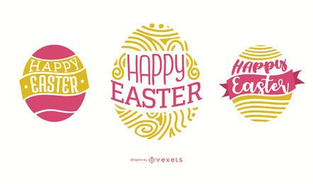Huevo de Pascua feliz diseño de letras