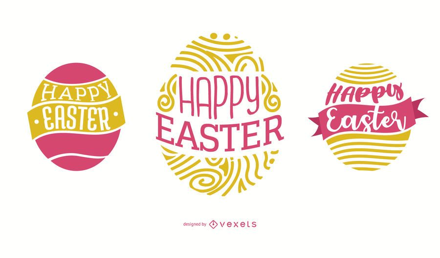 Happy Easter Egg Lettering Design