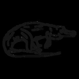 Esboço de rabo de presa de crocodilo jacaré