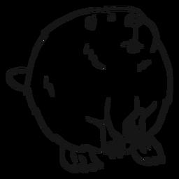 Desenho de roedor com pele de cauda de castor