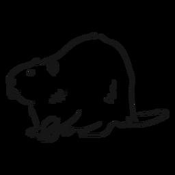 Esboço de roedor de dente de pêlo de cauda castor