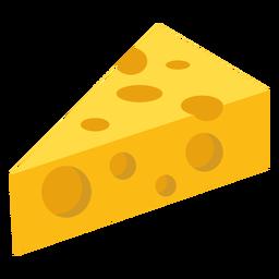 Pedaço de queijo buraco plana