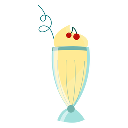 Copa de coctel cereza pajita plana