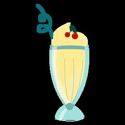 Copo de cocktail de palha bebendo cereja plana