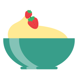 Cup bowl strawberry flat