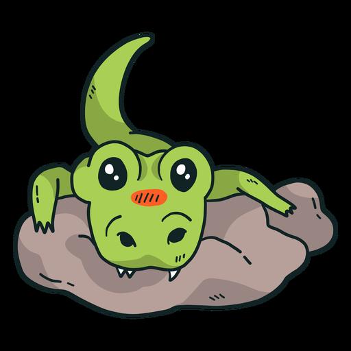 Cute alligator crocodile stone fang tail flat