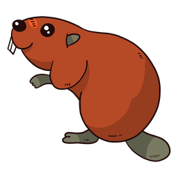 Cute beaver fur tooth tail rodent flat