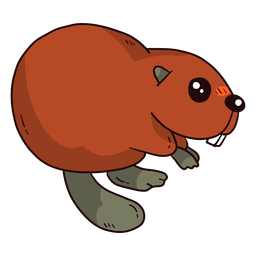 Cute beaver tail fur tooth rodent flat