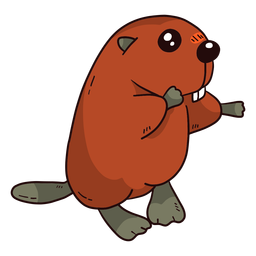 Cute beaver tooth tail fur rodent flat