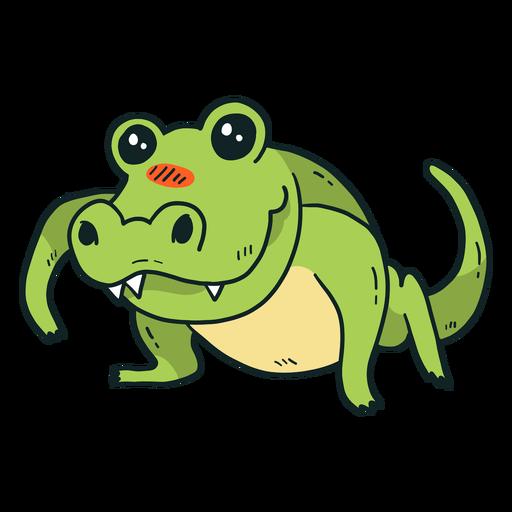 Cute crocodile alligator fang tail flat Transparent PNG