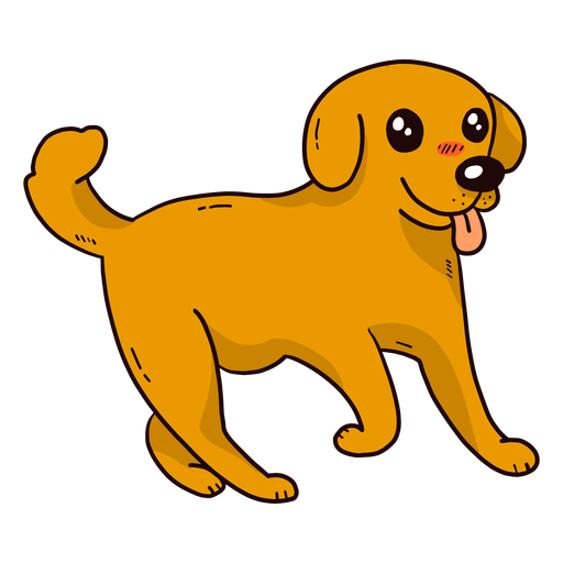 Cute dog puppy ear tail tongue flat Transparent PNG
