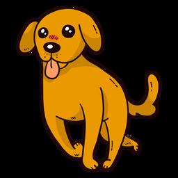 Língua de rabo de orelha de filhote de cachorro cão bonito correr plana