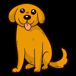 Orelha de cachorro fofo cachorro língua cauda plana
