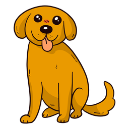 Orelha de cauda de língua de cachorro bonito cachorro plana