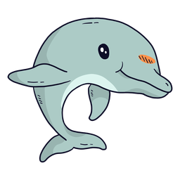 Cauda de nadadeira golfinho bonito plana