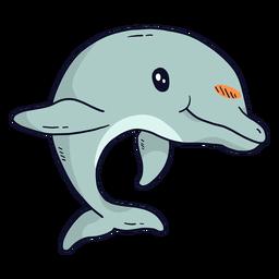Cola de aleta de delfín linda plana