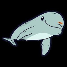 Nadadeira de rabo lindo golfinho nadando plana