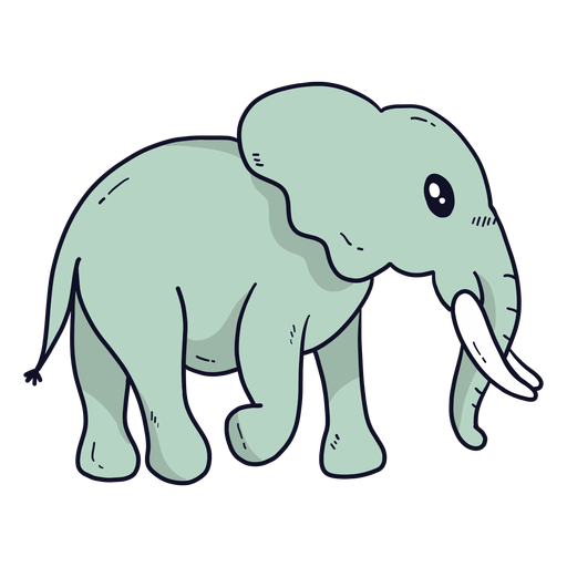 Cute elephant ear ivory trunk tail flat Transparent PNG