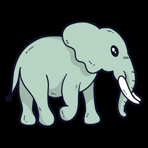 Cute elephant ear ivory trunk tail flat