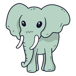 Lindo elefante marfil oreja tronco plano