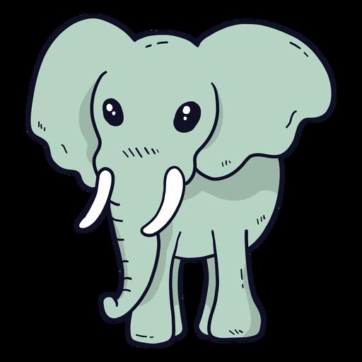 Cute elephant ivory ear trunk flat Transparent PNG