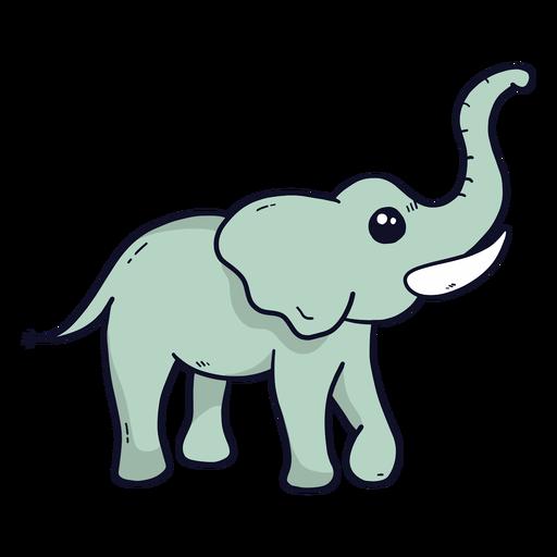 Lindo elefante marfil oreja tronco tronco plano Transparent PNG