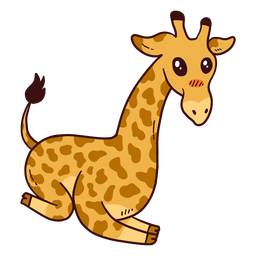 Cute giraffe neck tail tall long ossicones flat