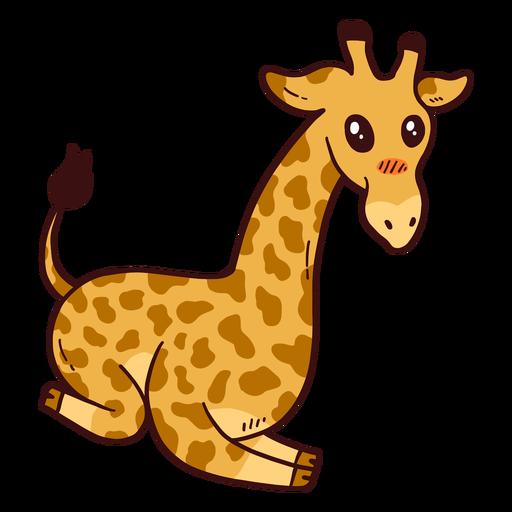 Lindo jirafa cuello cola alto largo ossicones plano Transparent PNG
