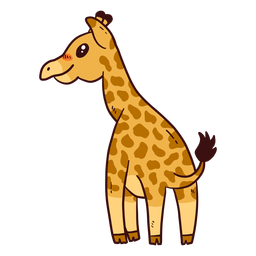 Cute giraffe tail neck tall long ossicones flat