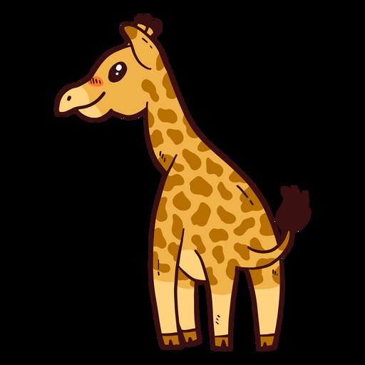 Lindo jirafa cola cuello alto largo ossicones plano Transparent PNG