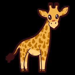 Langes Ossicones mit hohem Halsschwanz der niedlichen Giraffe flach