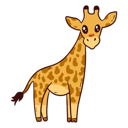 Linda jirafa cuello alto cola ossicones largos planos
