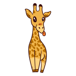 Cute giraffe tall neck tongue long ossicones flat