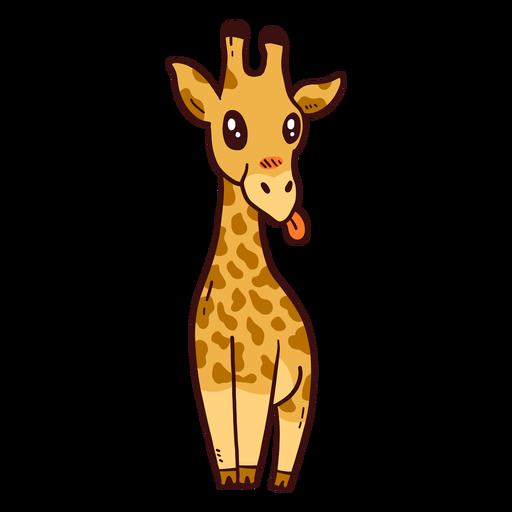 Linda jirafa cuello alto lengua larga ossicones plana Transparent PNG