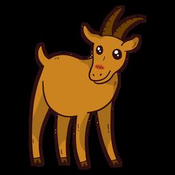 Cute goat hoof horn tail flat