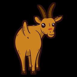 Cute goat tail hoof horn flat