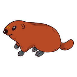 Linda tierra de cerdo marmota hocico cola piel plana