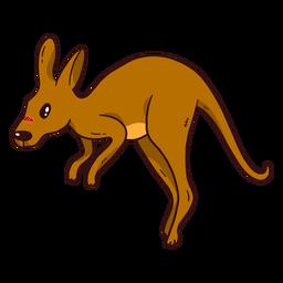 Lindo canguro bebé canguro oreja cola pierna salto plano